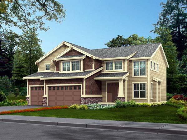 Country, Craftsman House Plan 87470 with 4 Beds, 3 Baths, 3 Car Garage Front Elevation