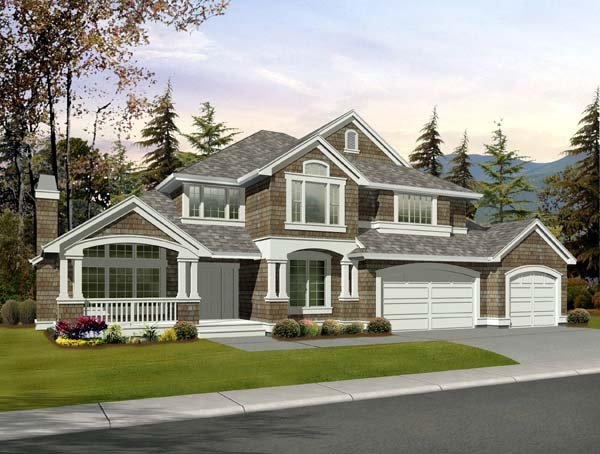 Country, Craftsman House Plan 87485 with 4 Beds, 3 Baths, 3 Car Garage Front Elevation