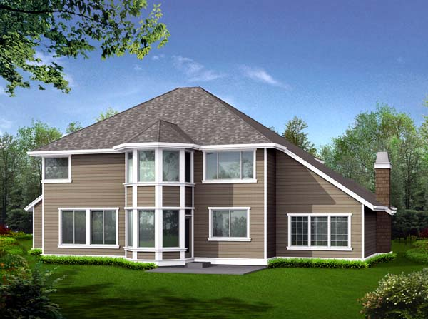 Country, Craftsman House Plan 87485 with 4 Beds, 3 Baths, 3 Car Garage Rear Elevation