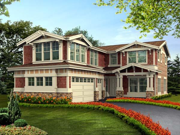 Craftsman House Plan 87498 with 5 Beds, 4 Baths, 3 Car Garage Front Elevation