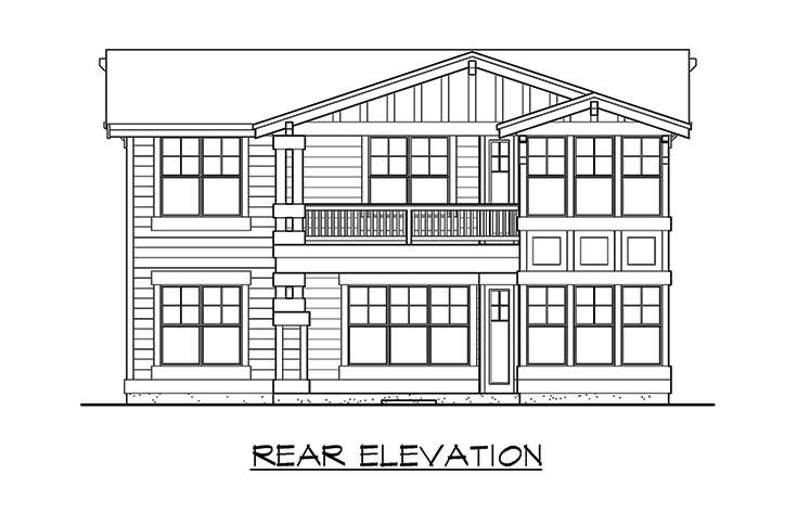 Craftsman House Plan 87498 with 5 Beds, 4 Baths, 3 Car Garage Rear Elevation
