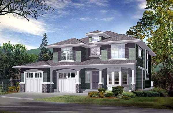 Southwest, Traditional House Plan 87503 with 3 Beds, 4 Baths, 2 Car Garage Front Elevation