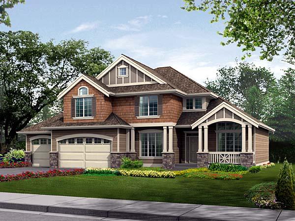 Craftsman House Plan 87512 with 4 Beds, 3 Baths, 3 Car Garage Front Elevation