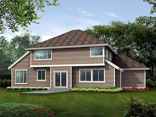 Craftsman House Plan 87512 with 4 Beds, 3 Baths, 3 Car Garage Rear Elevation