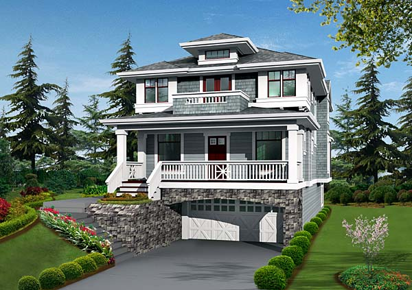 Narrow Lot House Plan 87514 with 4 Beds, 4 Baths, 2 Car Garage Elevation
