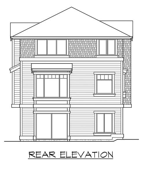 Narrow Lot House Plan 87514 with 4 Beds, 4 Baths, 2 Car Garage Rear Elevation