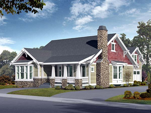 Bungalow, Craftsman House Plan 87523 with 5 Beds, 3 Baths, 2 Car Garage Front Elevation