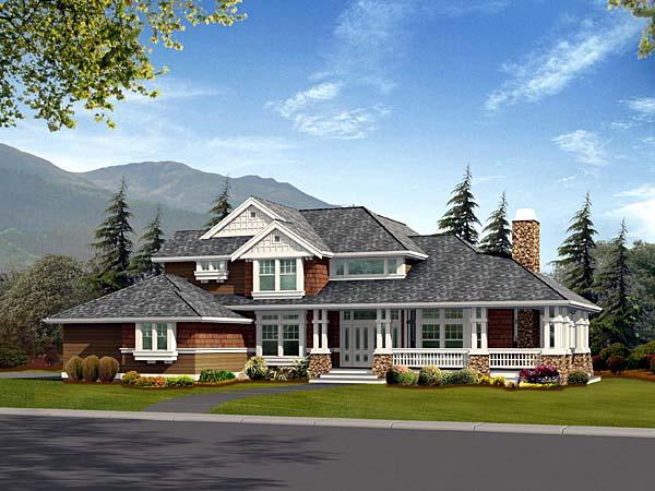 Craftsman House Plan 87530 with 4 Beds, 3 Baths, 3 Car Garage Front Elevation