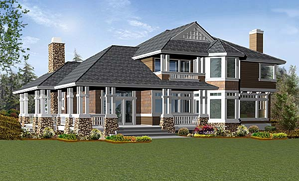 Craftsman House Plan 87530 with 4 Beds, 3 Baths, 3 Car Garage Rear Elevation