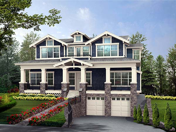 Craftsman House Plan 87565 with 5 Beds, 6 Baths, 3 Car Garage Front Elevation