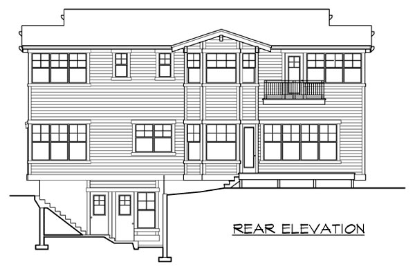 Craftsman House Plan 87565 with 5 Beds, 6 Baths, 3 Car Garage Rear Elevation