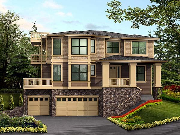 Contemporary, Southwest House Plan 87568 with 4 Beds, 4 Baths, 3 Car Garage Front Elevation