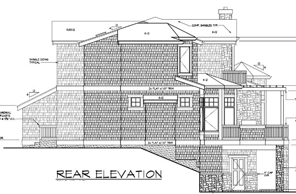 Contemporary, Southern House Plan 87571 with 4 Beds, 4 Baths, 3 Car Garage Rear Elevation