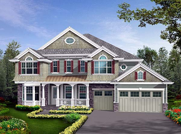Traditional House Plan 87581 with 4 Beds, 5 Baths, 3 Car Garage Front Elevation