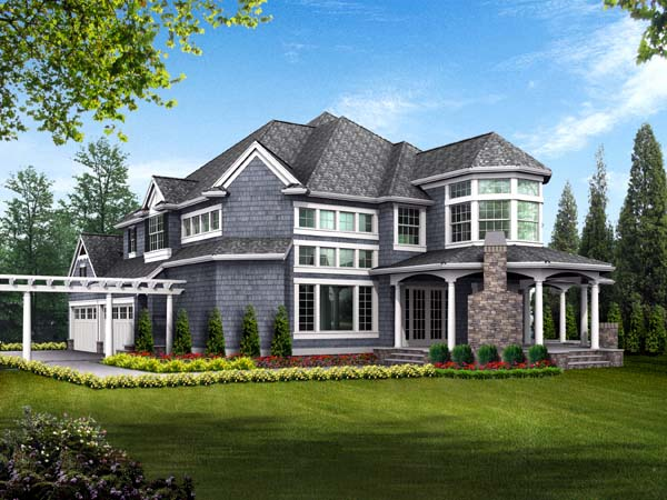 Farmhouse, Victorian House Plan 87609 with 4 Beds, 5 Baths, 3 Car Garage Rear Elevation