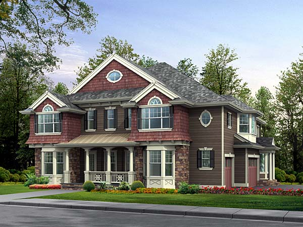 Colonial, Traditional House Plan 87615 with 5 Beds, 6 Baths, 3 Car Garage Front Elevation