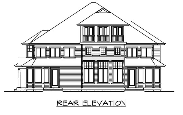 Colonial, Traditional House Plan 87615 with 5 Beds, 6 Baths, 3 Car Garage Rear Elevation