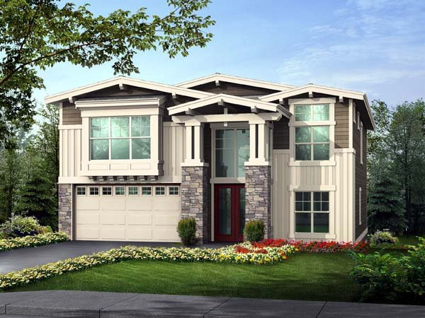 Contemporary, Craftsman House Plan 87667 with 5 Beds, 4 Baths, 3 Car Garage Front Elevation