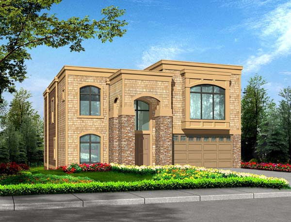 Contemporary, European House Plan 87668 with 5 Beds, 4 Baths, 3 Car Garage Front Elevation