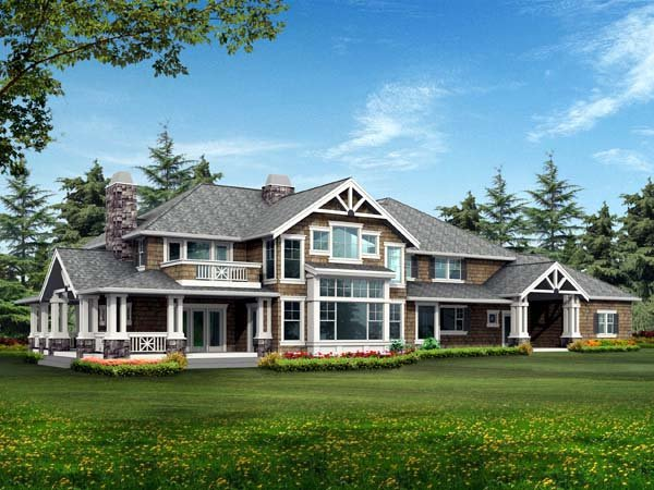 Craftsman House Plan 87669 with 4 Beds, 4 Baths, 4 Car Garage Rear Elevation