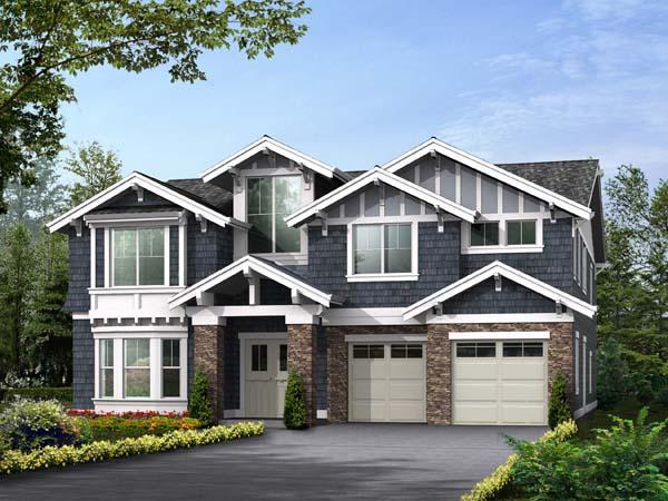 Craftsman House Plan 87671 with 5 Beds, 5 Baths, 3 Car Garage Front Elevation