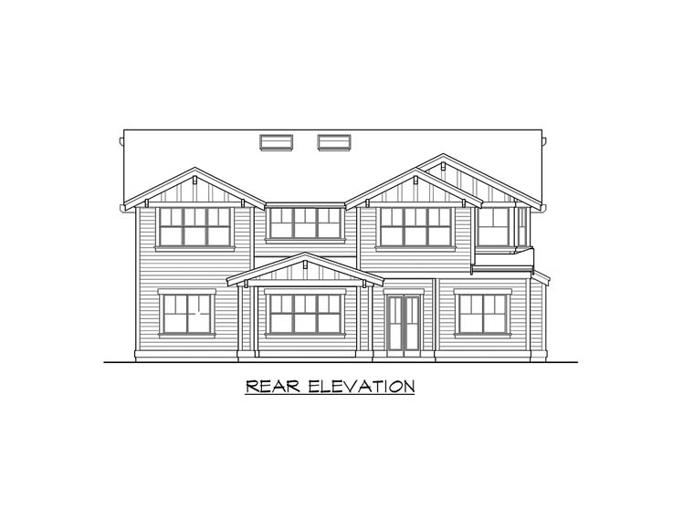 Craftsman House Plan 87671 with 5 Beds, 5 Baths, 3 Car Garage Rear Elevation