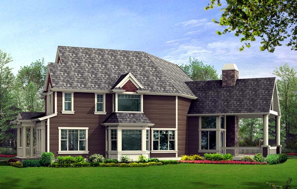 Farmhouse, Victorian House Plan 87672 with 3 Beds, 4 Baths, 2 Car Garage Rear Elevation