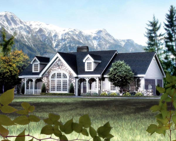 Cape Cod, Cottage, Country, Ranch, Victorian Plan with 1568 Sq. Ft., 2 Bedrooms, 2 Bathrooms, 3 Car Garage Elevation