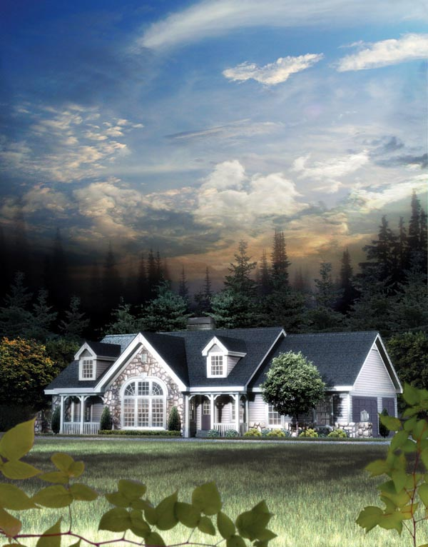 Cape Cod, Cottage, Country, Ranch, Victorian Plan with 1568 Sq. Ft., 2 Bedrooms, 2 Bathrooms, 3 Car Garage Picture 4
