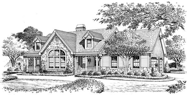 Cape Cod, Cottage, Country, Ranch, Victorian Plan with 1568 Sq. Ft., 2 Bedrooms, 2 Bathrooms, 3 Car Garage Picture 5