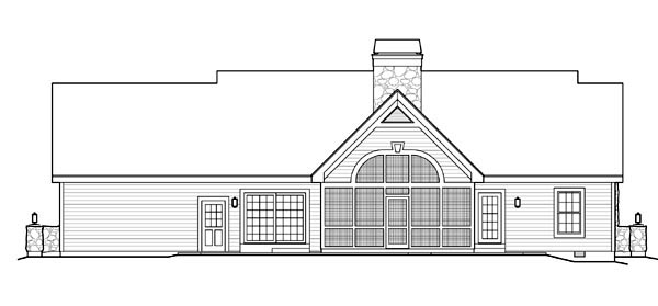Cape Cod, Cottage, Country, Ranch, Victorian Plan with 1568 Sq. Ft., 2 Bedrooms, 2 Bathrooms, 3 Car Garage Rear Elevation