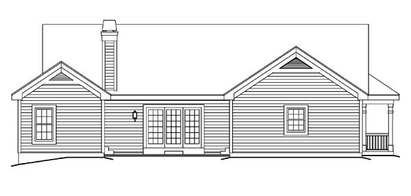 Bungalow, Country, Craftsman, Ranch House Plan 87811 with 3 Beds, 2 Baths, 2 Car Garage Rear Elevation