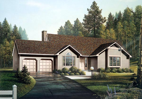 Ranch House Plan 87821 with 3 Beds, 2 Baths, 2 Car Garage Front Elevation
