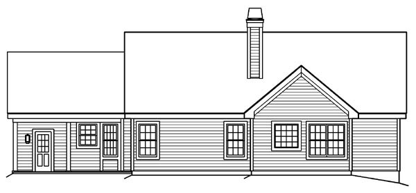 Bungalow, Country, Ranch, Traditional House Plan 87889 with 4 Beds, 3 Baths, 2 Car Garage Rear Elevation