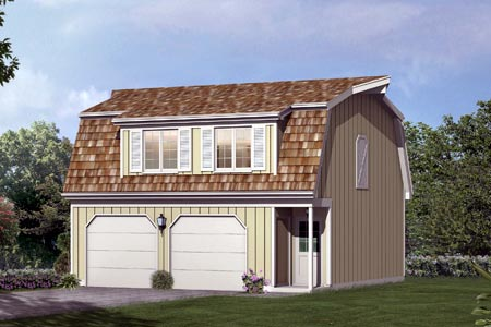 2 Car Garage Apartment Plan 87892 with 1 Beds, 1 Baths Front Elevation