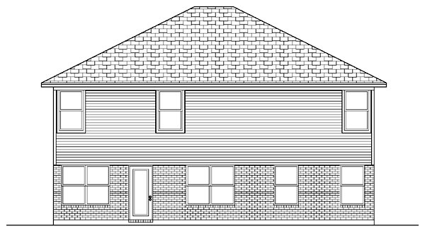 European House Plan 87914 with 6 Beds, 4 Baths, 2 Car Garage Rear Elevation