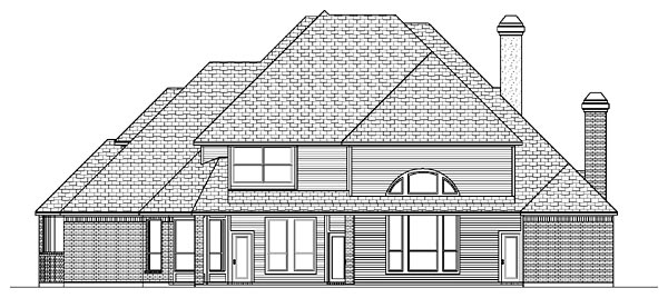 European House Plan 87934 with 4 Beds, 4 Baths, 3 Car Garage Rear Elevation