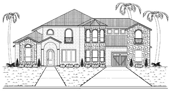 Mediterranean House Plan 87936 with 5 Beds, 5 Baths, 3 Car Garage Front Elevation