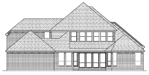 European House Plan 87939 with 5 Beds, 5 Baths, 3 Car Garage Rear Elevation
