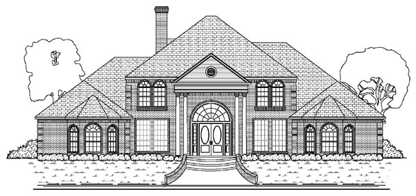 Colonial, European House Plan 87945 with 6 Beds, 6 Baths, 4 Car Garage Elevation
