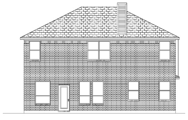 Traditional House Plan 87962 with 5 Beds, 3 Baths, 2 Car Garage Rear Elevation