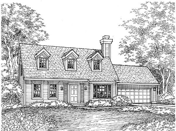 Cape Cod House Plan 88177 with 3 Beds, 2 Baths, 2 Car Garage Elevation