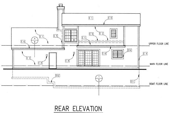 Cape Cod House Plan 88177 with 3 Beds, 2 Baths, 2 Car Garage Rear Elevation