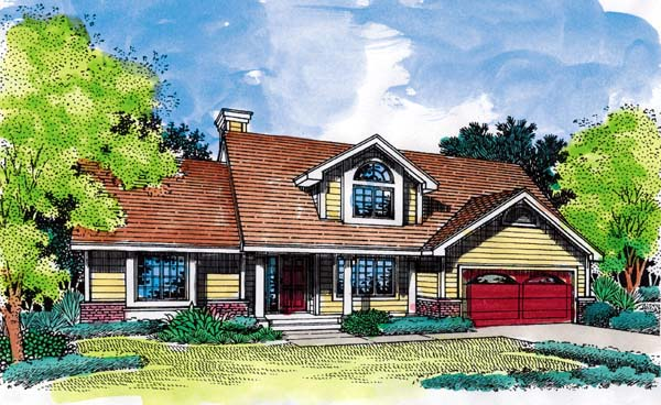 Country, Traditional House Plan 88240 with 3 Beds, 3 Baths, 2 Car Garage Elevation