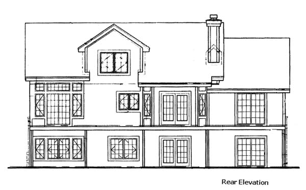 Country, Traditional House Plan 88240 with 3 Beds, 3 Baths, 2 Car Garage Rear Elevation