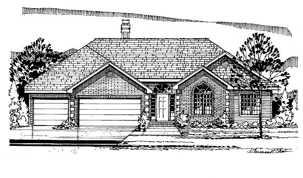 European, One-Story, Traditional House Plan 88316 with 3 Beds, 3 Baths, 3 Car Garage Elevation