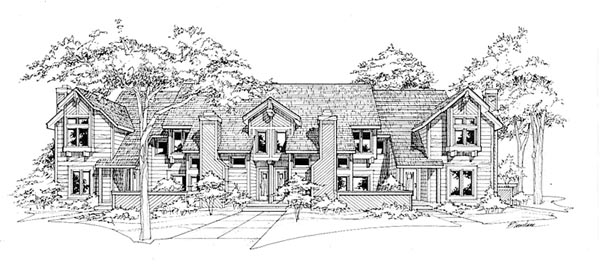 Traditional Multi-Family Plan 88402 with 10 Beds, 12 Baths, 6 Car Garage Front Elevation