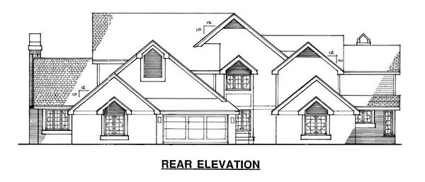Traditional Multi-Family Plan 88409 with 6 Beds, 8 Baths, 2 Car Garage Rear Elevation