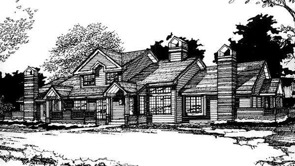 Traditional Multi-Family Plan 88411 with 8 Beds, 6 Baths, 4 Car Garage Elevation