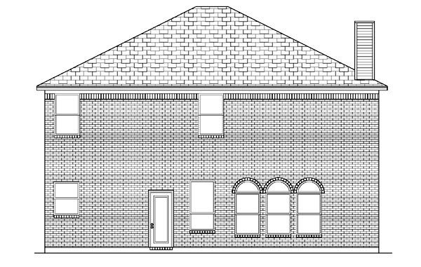 Narrow Lot, Traditional House Plan 88655 with 4 Beds, 3 Baths, 2 Car Garage Rear Elevation
